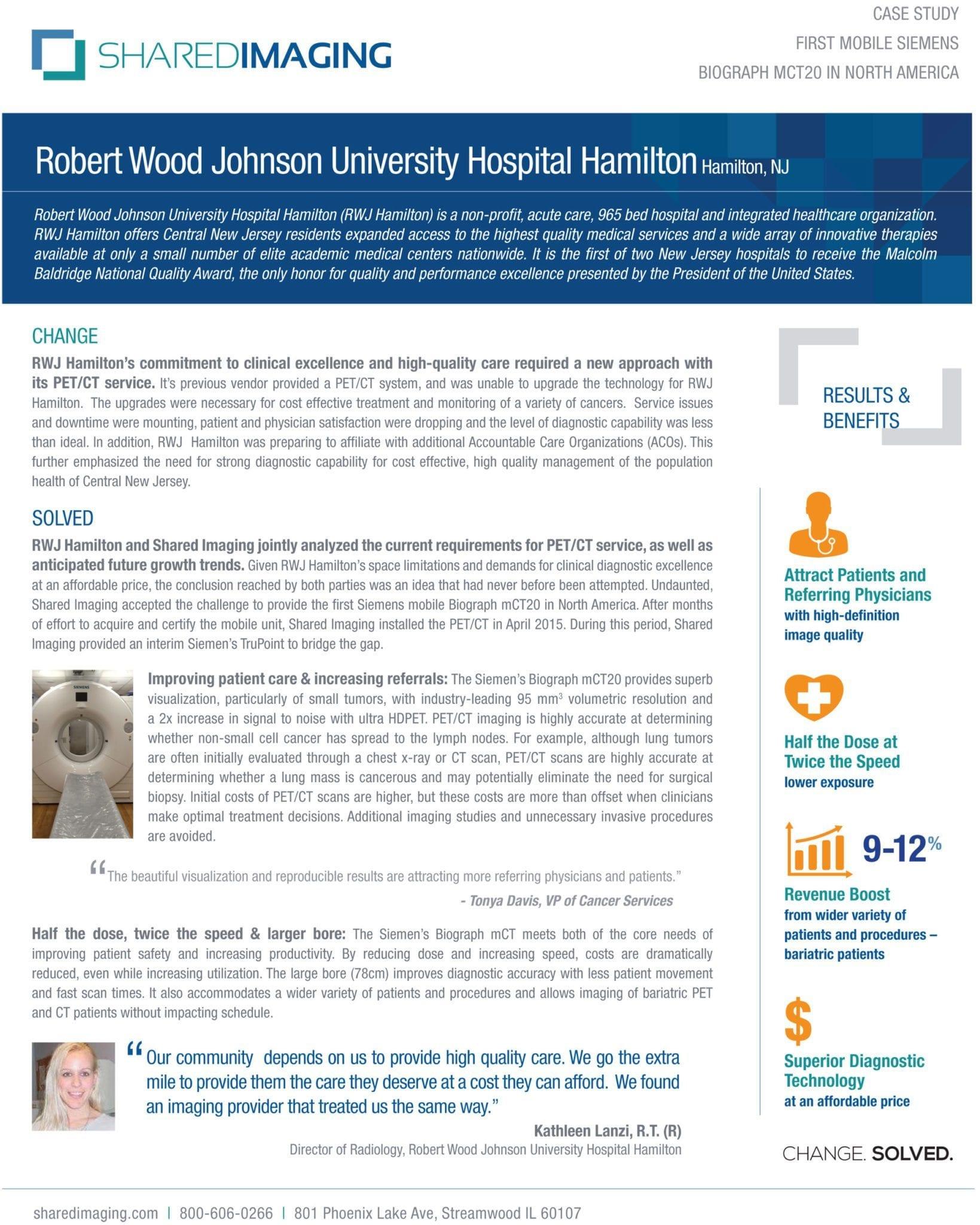 Robert Wood Johnson University Hospital Hamilton Case Study